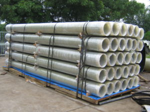 grp pipes packed for transport
